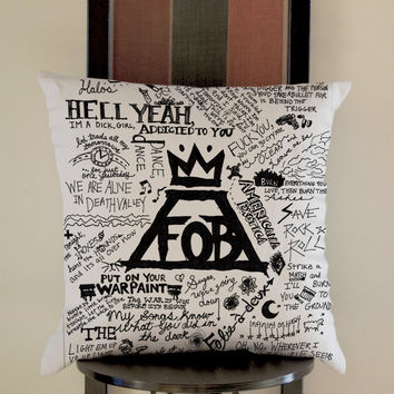 Fall Out Boy Lyrics Pillow, Pillow Case, Pillow Cover, 16 x 16 Inch One Side, 16 x 16 Inch Two Side, 18 x 18 Inch One Side, 18 x 18 Inch Two Side, 20 x 20 Inch One Side, 20 x 20 Inch Two Side