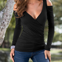 Fashion strapless V-neck T-shirt