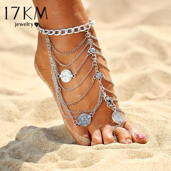 17KM Bohemia Multi Layer Tassel Coin Pendant Anklet For Women Foot Chain 2017 Long Beach Leg Bracelet Charm Sexy Ankles jewelry