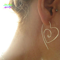 Unique New Tribal Gold/Silver Plated Large Heart Spiral Hoop Earrings  Wire Earrings Bijoux