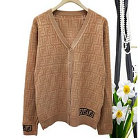 Fendi Autumn And Winter High Quality New Fashion More Letter Knit Long Sleeve Cardigan Coat  Coffee