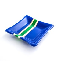 Cobalt Blue and Green Fused Glass Dish, Jewelry Holder, Decorative Bowl, Modern Home Decor, Dresser Tray, Stripe Design, Unique Gift for Men