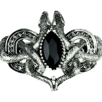 Gothic Celtic Hairclip / Barrette with Snakes and Black Stone