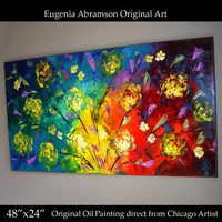 Original Modern Oil Painting on Canvas 48x24 Large Bright Flowers Fine Art palette knife texture Contemporary Wall Decor by Eugenia Abramson