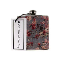 Mirabelle Blue-Gray Floral Flask  6 or 8 oz with Funnel and Tote Bag