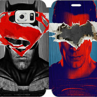 Batman v Superman: Dawn of Justice Wallet Case w/ STAND Flip Cover for Samsung Galaxy S6