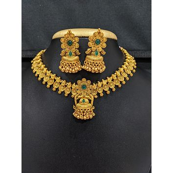 Antique Gold plated Elephant design Choker Necklace and Earrings set