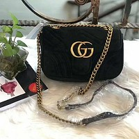 GG Marmont Fashion New Women Satchel Velvet Shopping Leather Metal Chain Shoulder Bag Crossbody