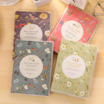 1 X cute Flower & Birds notebook diary book notepad kawaii stationery school supplies gift for kids papelaria