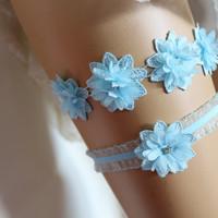 FREE SHİP Wedding Garter,Blue Lace Bridal Garter, The Same Lace Barefoot Sandals,Garter and Bridal Barefoot Sandals Set