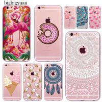 Silicone Phone Cases For iphone 6 6S Colorful Food Floral Paisley Flowers Pink Flamingo Mixed Pattern Clear Ultrathin TPU Covers