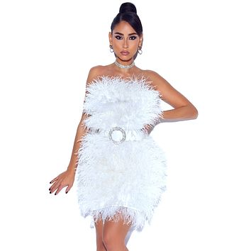 Adore You Strapless White Feather Dress