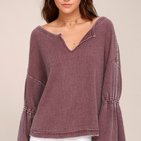 Free People Dahlia Washed Mauve Thermal Long Sleeve Top