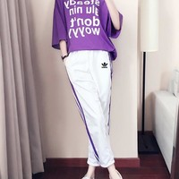 """Adidas"" Women Loose Casual Letter Print Short Sleeve T-shirt Stripe Trousers Set Two-Piece Sportswear"