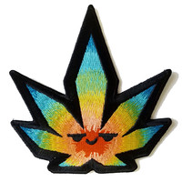 Pot Smoking Pals Psychedelic Leaf - Iron on Embroidered Patch Applique HS P - SR - 0001