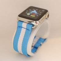 Apple Watch Replacement Band Strap for 38mm Apple Watch Silver/Stainless Steel - Sky Blue/White Stripe Nylon