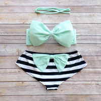 Bow Bandeau Bikini - Cheeky Boy Short Style Swimwear -  With Bow on Butt  - Stunning Mint Green with Stripes - Unique & So Cute!