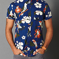 Tropical Print Cotton Shirt Blue/Orange