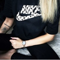 Nike X LV Louis Vuitton Freshion Women Men Tee Shirt Top  Print Monogram Sweatershirt Black
