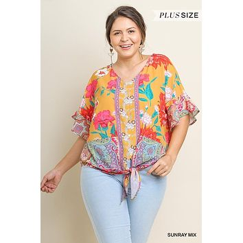 Umgee Plus Size Sunray Mix Floral Scarf Print Waist Tie Top