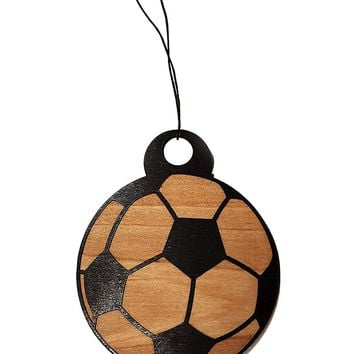 Soccer Ball Laser Engraved Wooden Rear View Mirror Car Charm Dangler
