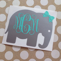 Monogrammed Elephant | Elephant Monogram | Vine Monogram Elephant | Elephant Vinyl Decal | Car Decal | Animal Car Decal | Elephant Car Decal