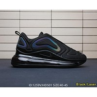 Bunchsun Nike Air Max 720 Popular Men Leisure Sport Running Shoes Air Cushion Sneakers Black/Laser