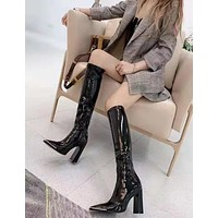 HOT33  Trending Women's Black Leather Side Zip Lace-up Ankle Boots Shoes High Boots