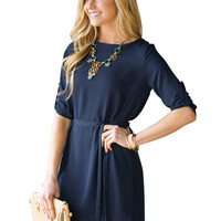 Navy Blue Long Sleeve Mini Dress with Belt