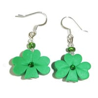 Sparkling Green Polymer Clay St Patricks Day Clover Earrings