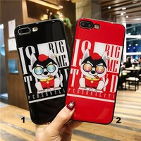 Vulgar tycoon Dog Glass texture mobile phone case for iPhone X 7 7plus 8 8plus iPhone6 6s plus -171212