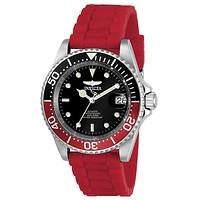 INVICTA Pro Diver Mens Automatic - Black & Red Design - Magnified Date - 200m