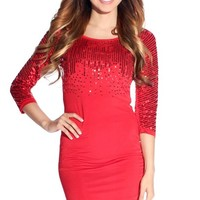 Hannah Red Sequin Long Sleeve Short Party Dress