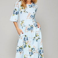 Pocketed French Terry Floral Midi Dress