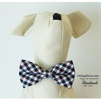Plaid Black and white dog bow tie attached to collar, Puppy, Cat, birthday gift , Wedding dog collar