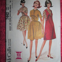 Sale 1960's McCall's Sewing Pattern, 7442! Size 10, Bust 31, Small to medium, Women's, Misses, Juniors, Dresses and Jumpers, summer and spri