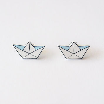 Paper Boat Stud Earrings - Made To Order