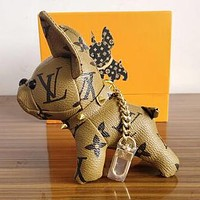 LV Louis Vuitton Hot Sale Women Men Chic Lovely Dog Bag Charm Bag Pendant And Key Holder Yellow