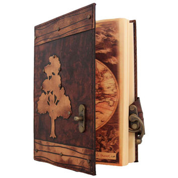 Oak Tree On A Brown Leather Journal / Notebook / Diary / Sketchbook / Leatherbound