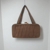 1940s Vintage Shu Mate by Shur Tite Fabric Brown Purse with Gold Tone Clasp, 3 Inside Pockets, 5.5 x 11 Inches, 1940s Fashion Hand Bag