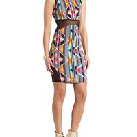 PRINTED MESH CUT-OUT BODY-CON DRESS