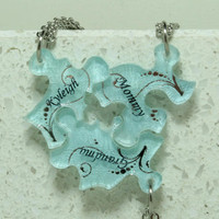 Friendship Puzzle Piece necklaces Set of 3 Personalized pendants Silver and blue