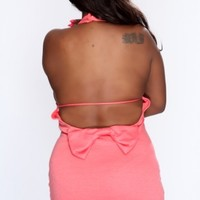 Coral Bow Accent Backless Sexy Party Dress AMI+