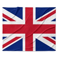 """Bruce Stanfield """"Classic Union Jack"""" Blue Red Fleece Throw Blanket"""