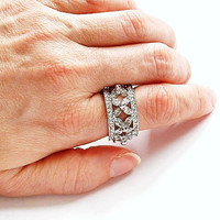 Crystal Rhinestone Ring Vintage Cocktail Party Statement Bling Ring Size 8.5