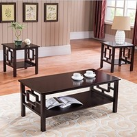3 Pc. Kings Brand Cherry Finish Wood Coffee Table & 2 End Tables Occasional Set