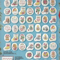 1990s Victorian Ornaments Bucilla Counted Cross Stitch Kit 83104 Kit for 50 Christmas Cross Stitch Ornaments for Tree, Wreath and More
