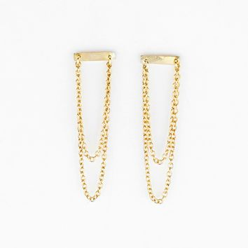 Hammered Bar And Chain Studs