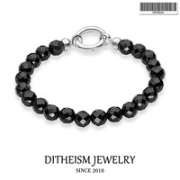 Strand Bracelets Classic with Black Onyx Beads, 2018 New 925 Sterling Silver Fashion Jewelry Punk Gift for Men Boy Women Girls
