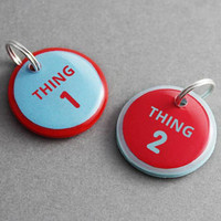 Thing 1 Thing 2 Add On Pet ID Tag Set - Dr Seuss Inspired, Twin Pet Tags, Dog Cat Puppy Kitten - Pixsqueaks